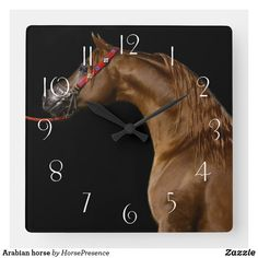 Arabian horse square wall clock Wall Clocks, Diy Face Mask, Hand Coloring, Dog Design, Party Hats, Funny Cute, Dog Cat, Kids Shop, Horses