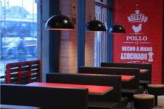 Kfc Restaurant, Restaurant Design, Pasta Shop, Rustic Design, Lighting, Chair, Furniture, Walls, Home Decor