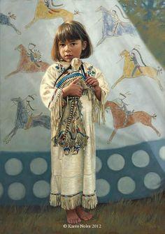 """Little Bare Feet"" Original Oil 20"" x 14"" -Western and Native American Fine Art by Karen Noles"
