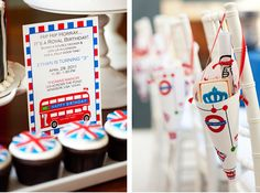 London birthday party....love the hanging paper cones