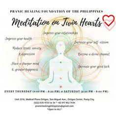 """""""Every day you take a shower. Practicing the Meditation on Twin Hearts is like taking a Spiritual Shower. When your aura is clean, you experience a Higher Level of awareness. When your aura is clean, you see through things more clearly. Even your Good Luck increases.""""  -Master Choa Kok Sui"""