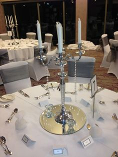 Silver Candelabras finished with diamanté droplets x