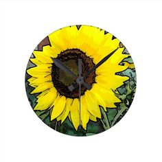Enchanting Large gold sunflower round clock by khoncepts.com $24.95