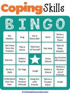 COPING SKILLS BINGO GAME FOR KIDS AND TEENS - TeachersPayTeache...