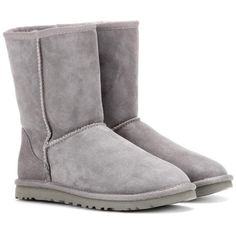 UGG Australia Classic Short Boots (2 145 SEK) ❤ liked on Polyvore featuring shoes, boots, ankle booties, grey, gray booties, grey bootie, gray ankle boots, gray bootie and gray boots