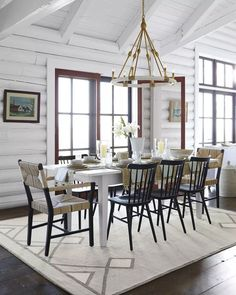 Rustic Farmhouse style, the modern way. Delightful design detail: The table's apron is outfitted with two shallow drawers, perfect for storing extra table linens#serenaandlily