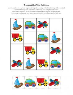 Transportation Toys Sudoku Puzzles - Gift of Curiosity Sudoku Puzzles, Puzzles For Kids, Games For Kids, Science Activities, Toddler Activities, 1st Birthday Games, Body Preschool, Love And Logic, Transportation Theme