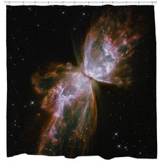Your bathroom will be out of this world with this high-quality shower curtain that features the spectacular Stellar Demise image from the Hubble Telescope. This shower curtain is printed in the US on 100-percent polyester.