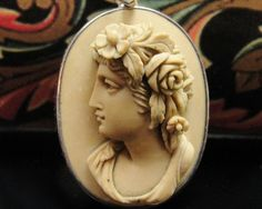 Antique Lava Cameo Pendant Sterling Silver Carved by panthia