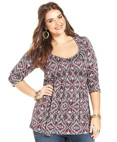 American Rag Plus Size Printed Babydoll Top - Tops - Plus Sizes - Macy's
