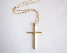Looking for a simple gold cross necklace? This one fits the bill. Simple, elegant, and easily your next everyday necklace. A great layering necklace also. - Pendant - matte gold plated brass - tarnish resistant - x - Clasp + components - Gold-filled - Jane The Virgin, Kate Marsh, Timothy Green, Quinn Fabray, Dana Scully, Satsuriku No Tenshi, Accesorios Casual, Everyday Necklace, Life Is Strange