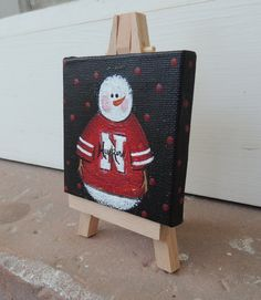 Nebraska Husker Mini Snowman A Mini Man by EstellesPaintedTreas, $12.00