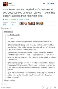"Why women are ""mysterious"" by Twitter's @thewordy and tumblr"
