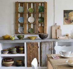 Ytong und alte Bretter, möcht ich auch in meiner Küche.