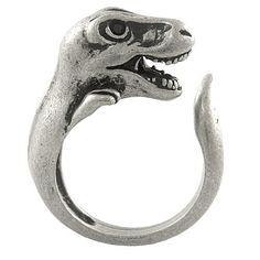 Enhanced T-Rex Dinosaur Adjustable Animal Wrap Ring Vintage Silver Tone Ellenviva
