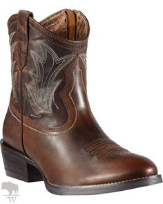 Women's Billie Side Zipper Short Cowgirl Boots Round Toe by Ariat