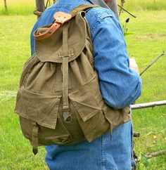 """Vintage Army Surplus Backpack - Rucksack - Canvas and Leather """"Ready for Urban…"""