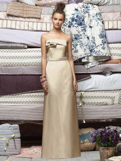 Palomino gold strapless duchess satin floor length bridesmaid's dress