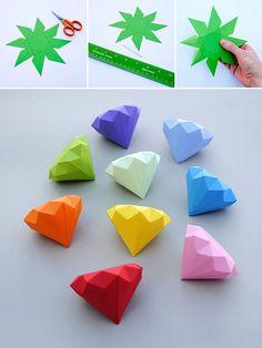 How to Make 3D Paper Diamonds - DIY & Crafts - Handimania
