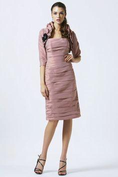 Pretty Strapless Knee Length Taffeta Sheath Column Mother Of The Bride Dress With Jacket
