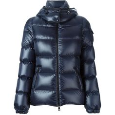 Moncler 'Berre' padded jacket ($1,070) ❤ liked on Polyvore featuring outerwear, jackets, blue, feather jacket, moncler, long sleeve jacket, padded jacket and blue jackets