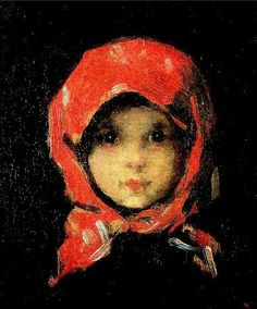 """This little girl (""""Kleines Mädchen"""" -The little girl in the red kerchief) is from the nineteenth century. She lives in this painting by Nicolae Grigorescu (1838-1907)"""