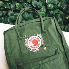 On Yulia's leaf green kanken 🐕🍃— Last week to get your embroidery service at stated price, and will be adjusted from March onwards :) . Mochila Kanken, Hand Embroidery Designs, Diy Embroidery, Embroidery Patterns, Estilo Cool, Embroidery Services, Cute Backpacks, Embroidery For Beginners, Cute Bags