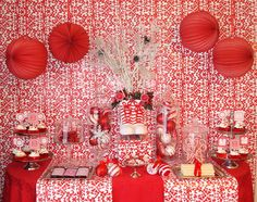 Red and white Christmas dessert table #christmas #desserttable