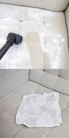 Clean your fabric furniture with this DIY hack   Easy and Fast Household Cleaning Hack   www.diyready.com/10-minute-cleaning-hacks-that-will-keep-your-home-sparkling/