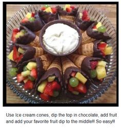 Cute party snack idea... fruit cones.