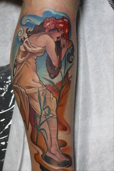 Best looking art nouveau tattoo!! Love the style