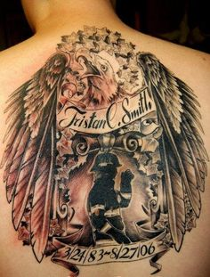 Firefighter Eagle Tribute Tattoo (back) | Shared by LION
