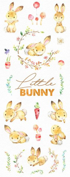 Little Bunny. Cute animal clipart watercolor woodland