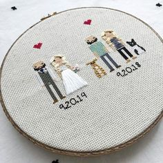 Anniversary Gift Cross Stitch Family Portrait Then and Now Cotton Anniversary Gift Wedding Couple Linen Anniversary Present for Her Gift for Second Anniversary Gift, Cotton Anniversary Gifts, Wedding Anniversary Gifts, Wedding Gifts, Cross Stitch Family, Presents For Her, Dmc Floss, Sentimental Gifts, Gifts For Wife