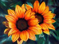 Sunflower Painting - Golden Sun by Laura Bell Sunflower Drawing, Sunflower Art, Sun Painting, Painting Flowers, Sunflower Images, Sunflowers And Daisies, Anniversary Flowers, Flower Sleeve, Mini Canvas Art
