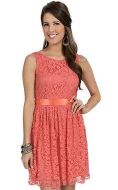 B Sharp Women's Coral Lace Sleeveless Dress | Cavender's