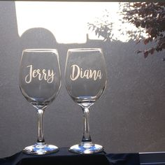 Excited to share this item from my shop: Personalized Etched Wine Glasses-Couples Wine Glasses-Wedding Gift- Etched Name Glasses-Anniversary Gift-Bridal Shower Gift -Going Away Gift Monogram Wine Glasses, Etched Wine Glasses, Personalized Wine Glasses, Personalized Bridesmaid Gifts, Bride And Groom Glasses, Wedding Gifts For Bride And Groom, Custom Wedding Gifts, Bridesmaid Wine Glasses, Wedding Wine Glasses