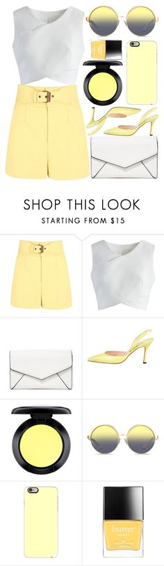 """Boomerang"" by egordon2 ❤ liked on Polyvore featuring RED Valentino, Chicwish, LULUS, Manolo Blahnik, MAC Cosmetics, Matthew Williamson, Casetify and Butter London"
