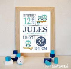 Cadeau naissance, stats de naissance, décoration chambre bébé garçon - Fichier Imprimable - n°58 hibou chouette : Décoration pour enfants par cashemir