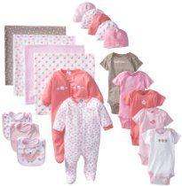 Gerber Baby-Girls Newborn 19 Piece Newborn Essentials Gift Set, Pink