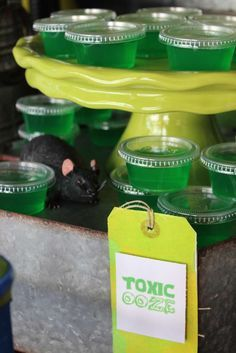 Toxic ooze jello at a Teenage Mutant Ninja Turtles birthday party! See more party ideas at http://CatchMyParty.com!