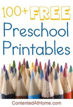 Preschool Printables: 100+ FREE Preschool Printables. :-)