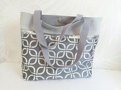 Sac cabas coton gris, tissu jacquard imprimé graphique et galon paillettes argentées de la boutique LesPrettyCrea sur Etsy