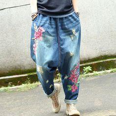 Genius or Cray-cray?  Causal Women Cotton Floral Harem Pants