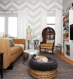 Boho chic living space with global furnishings. Lovely grey chevron feature wall.,  Go To www.likegossip.com to get more Gossip News!