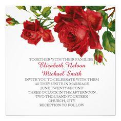 Romantic Red Roses Wedding Invite