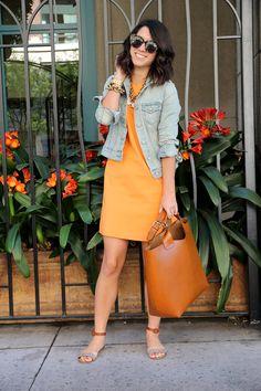 orange dress, denim jacket