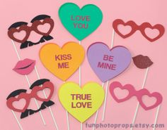 Valentine Photo Booth Props - 10 Piece Photobooth Set with Conversation Hearts- Photobooth Props. $18.95, via Etsy.