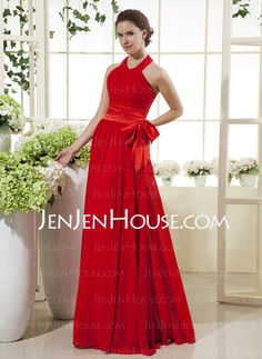 Mother of the Bride Dresses - $132.69 - A-Line/Princess Halter Floor-Length Chiffon Charmeuse Mother of the Bride Dresses With Ruffle (008015503) http://jenjenhouse.com/A-Line-Princess-Halter-Floor-Length-Chiffon-Charmeuse-Mother-Of-The-Bride-Dresses-With-Ruffle-008015503-g15503
