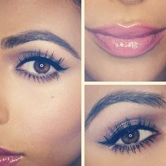 eyeliner + pink glossy lips